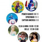 Meet Elsa, Anna, Belle, Spiderman, Captain America and a Power Ranger!